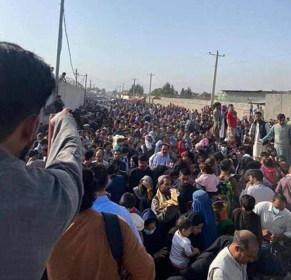 एयरपोर्ट के अंदर जाने के लिए बाहर लोगों की भीड़ जमा है। वे अपनी पारी का इंतजार कर रहे हैं। तालिबानी इन्हें कंट्रोल करने के लिए हवाई फायरिंग करते रहते हैं।