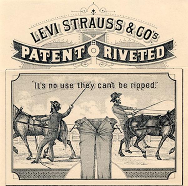 जींस की मजबूती दर्शाने के लिए लीवाई स्ट्रॉस कंपनी द्वारा जारी किया गया एक विज्ञापन।