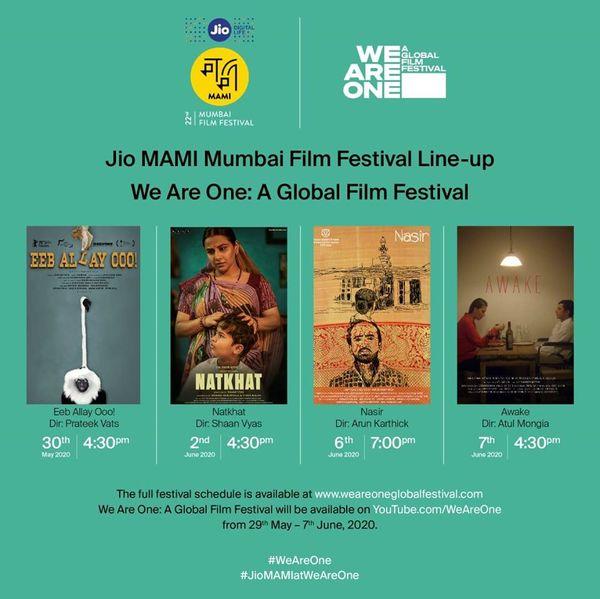 'વી આર વન' ગ્લોબલ ફિલ્મ ફેસ્ટિવલમાં ચાર ભારતીય ફિલ્મો પણ દર્શાવાશે, જેનું ચયન 'MAMI' ફિલ્મ ફેસ્ટિવલ દ્વારા કરાયું છે.