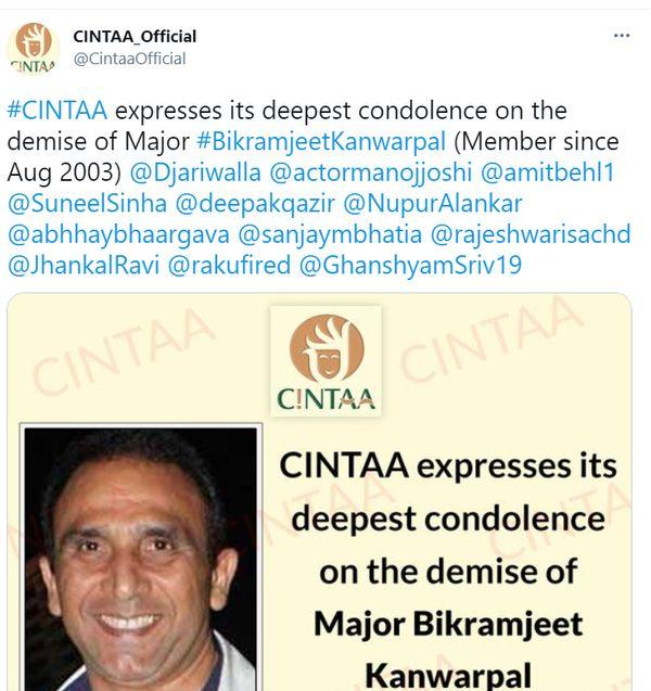CINTAA ने बिक्रमजीत की मौत पर शोक जताया