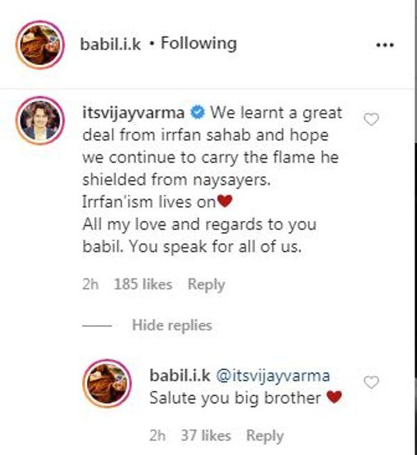 बाबिल की पोस्ट पर विजय वर्मा का कमेंट।