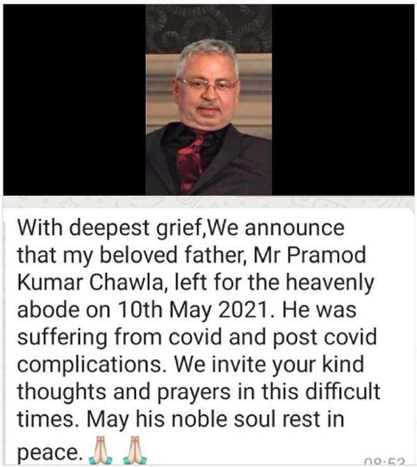 सोशल मीडिया पर चावला की पोस्ट।