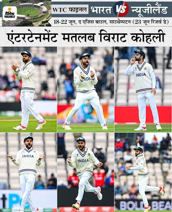 न्यूजीलैंड की बल्लेबाजी के दौरान विराट के 6 रूप। उन्होंने बेहतरीन अंदाज में अपनी टीम को चीयर किया। कमेंट्री के दौरान इंग्लैंड के पूर्व क्रिकेटर नासिर हुसैन ने कहा कि विराट 21वीं सेंचुरी के सबसे महान कप्तान बनेंगे।