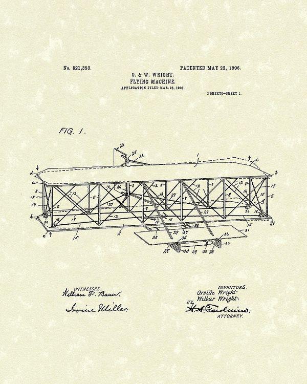 राइट बंधुओं को मिले पेटेंट की कॉपी। इसमें उनकी बनाई फ्लाइंग मशीन का डिजाइन भी है।