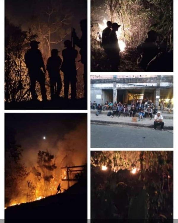 48 घंटे बाद भी जंगल की आग धधक रही है। बुझाने की कोशिश जारी है।