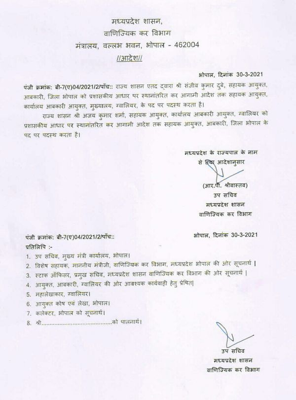 वाणिज्यिक कर विभाग ने मंगलवार को भोपाल के सहायक आबकारी आयुक्त संजीव दुबे को ग्वालियर में पदस्थ करने का आदेश किया।