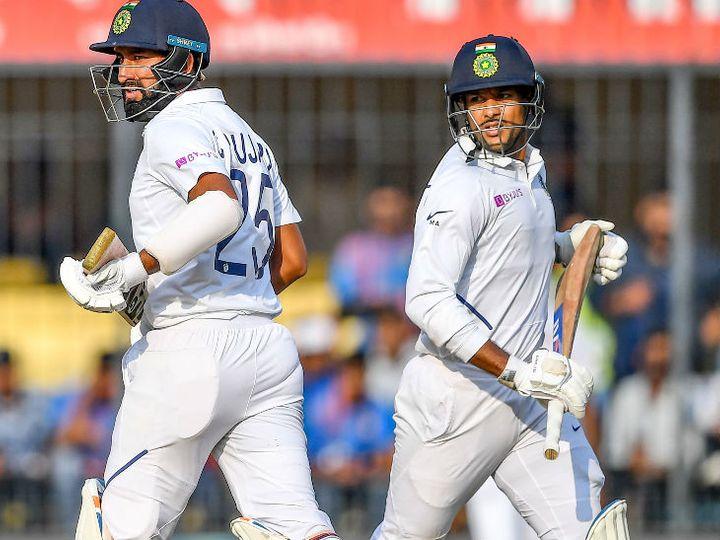 मैच के पहले दिन मयंक अग्रवाल और चेतेश्वर पुजारा के बीच 72 रन की साझेदारी हुई। - Dainik Bhaskar