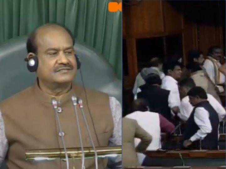 लोकसभा स्पीकर ओम बिड़ला (बाएं) और सदन से वॉकआउट करते कांग्रेस सांसद - Dainik Bhaskar