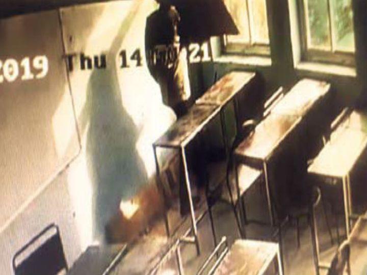 सीसीटीवी फुटेज में संजय खिड़की से कूदता हुआ नजर आ रहा है। पुलिस ने सीसीटीवी फुटेज जब्त कर ली हैं। - Dainik Bhaskar