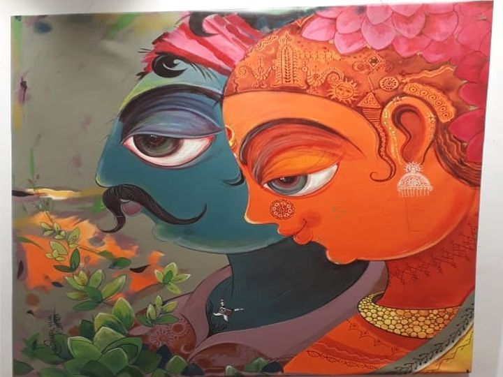 स्वराज वीथि में चित्रकार मंजुनाथ माने के आंखें थीम पर केंद्रित चित्रों की प्रदर्शनी लगाई गई है। - Dainik Bhaskar
