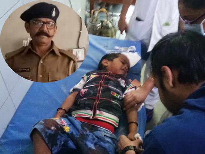 शिवम के गले में पतंग की डोरी फंस गई। उसे हॉस्पिटल ले जाने वाले कांस्टेबल किरीट भाई(इंसेट) - Dainik Bhaskar
