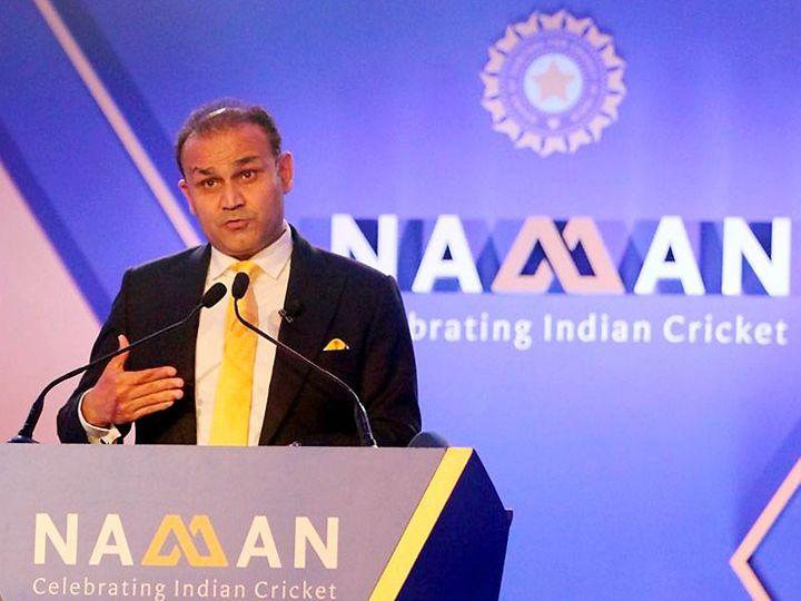 वीरेंद्र सहवाग ने बीसीसीआई के सम्मान समारोह नमन को संबोधित किया। - Dainik Bhaskar