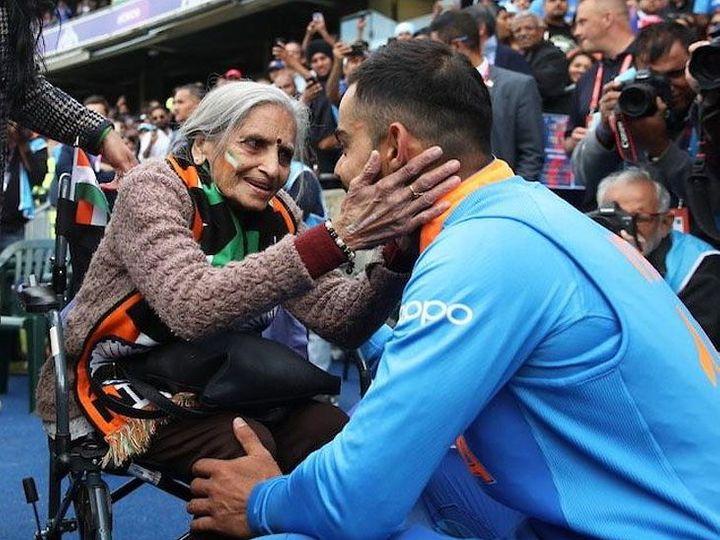 भारतीय क्रिकेट टीम के कप्तान विराट कोहली को आशीर्वाद देती हुई चारुलता पटेल - Dainik Bhaskar