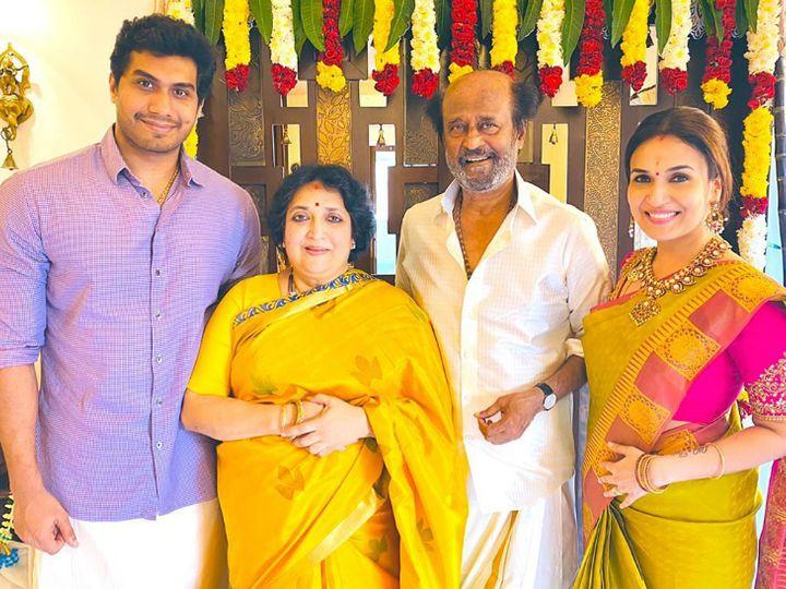 रजनीकांत ने बेटी सौंदर्या के ससुराल में पोंगल का त्योहार मनाया। उनके साथ पत्नी लता भी थीं। - Dainik Bhaskar