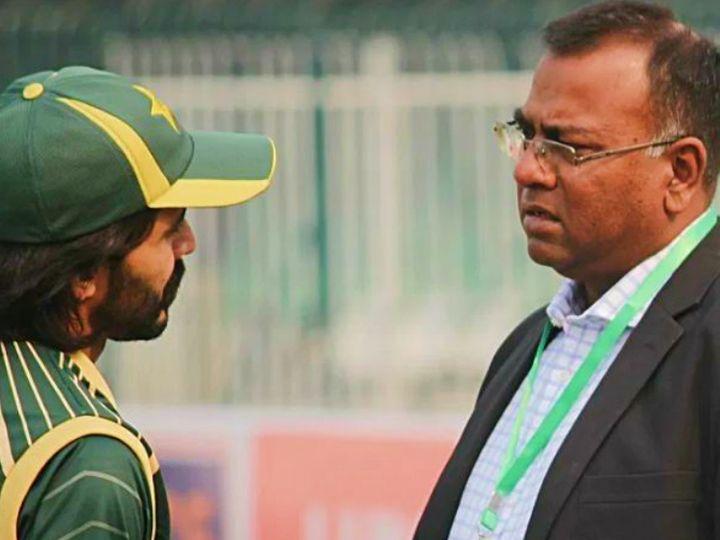 बासित अली (दाएं) पाकिस्तान के टेस्ट बल्लेबाज अहमद शहजाद के साथ। (फाइल) - Dainik Bhaskar
