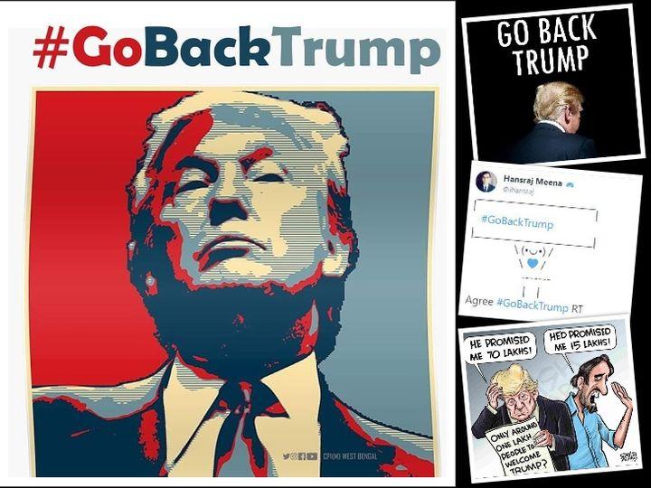 राष्ट्रपति ट्रम्प को लेकर सोशल मीडिया पर #GoBackTrump हैशटेग के साथ मीम्स, कार्टून और मैसेज वायरल हो रहे हैं। - Dainik Bhaskar