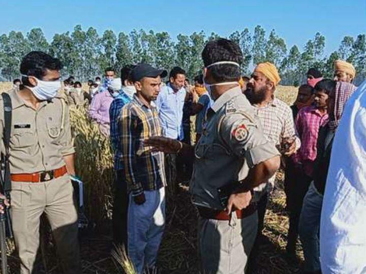 घटनास्थल पर वनकर्मियों के साथ पुलिस भी मौजूद है। इस घटना के बाद से ग्रामीणों में दहशत है। - Dainik Bhaskar