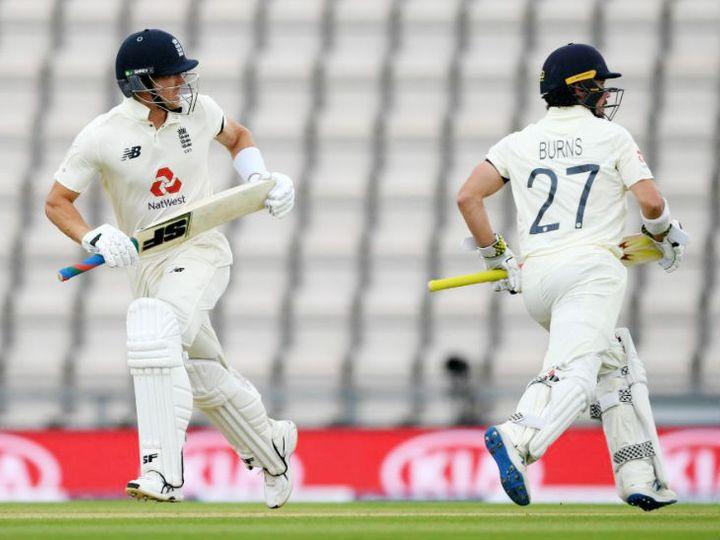 साउथैम्पटन टेस्ट के पहले दिन इंग्लैंड के रोरी बर्न्स 20 और जो डेनली 14 रन बनाकर नाबाद रहे। - Dainik Bhaskar
