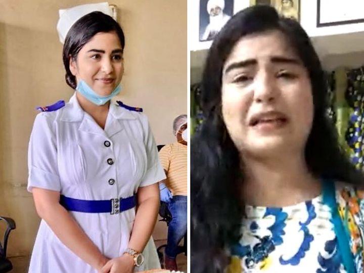 शिखा करीब 100 दिन से मुंबई के जोगेश्वरी ईस्ट स्थित हिंदू हृदय सम्राट बालासाहब ट्रॉमा हॉस्पिटल में वालंटियर नर्स के रूप में काम कर रही हैं। - Dainik Bhaskar