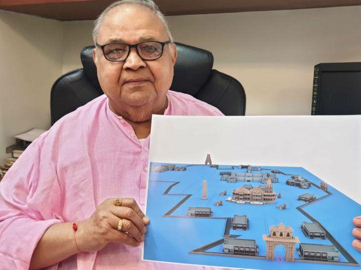 अयोध्या में भगवान राम के मंदिर के नक्शे के साथ वास्तुकार चंद्रकांत सोमपुरा। उन्होंने बताया कि संतों और ट्रस्ट की इच्छा पर नक्शे में बदलाव किए गए हैं। - Dainik Bhaskar