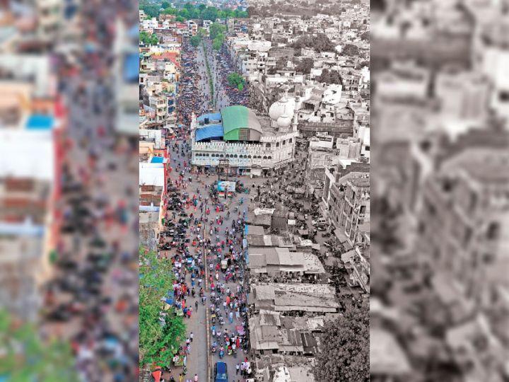 शुक्रवार शाम कटरा बाजार में खरीदी के लिए लोगों की भीड़ उमड़ पड़ी। ड्रोन फोटो टोनू निर्मल - Dainik Bhaskar