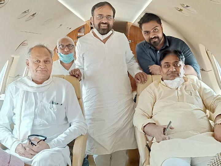 मुख्यमंत्री गहलोत के साथ निर्दलीय विधायक संयम लोढा, केबिनेट मंत्री गोविंद सिंह डोटासरा भी जयपुर पहुंचे।। - Dainik Bhaskar