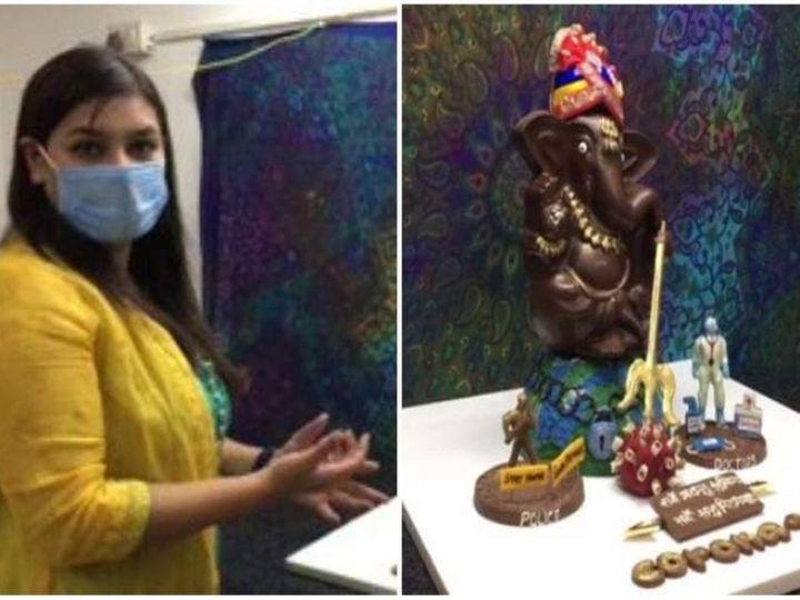 Nidhi Sharma created eco friendly statues of Shri Ganesh on the Corona Warriors theme, sharing the joys of the needy with chocolate sculptures. | निधि शर्मा ने कोरोना वॉरियर्स थीम पर बनाई श्री गणेश की इको फ्रेंडली मूर्तियां, चॉकलेट से बनी मूर्तियों से जरूरतमंदों में बांट रहीं खुशियां