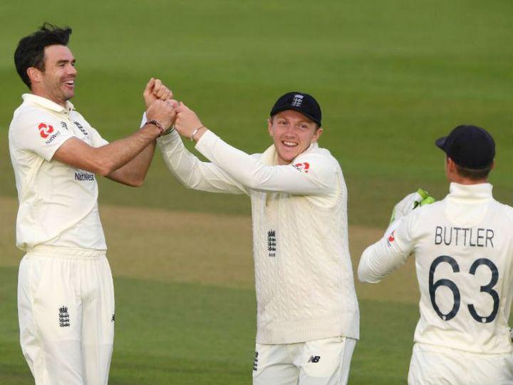 इंग्लैंड के तेज गेंदबाज जेम्स एंडरसन (बाएं) ने पाकिस्तान के शुरुआती 3 विकेट लिए। उन्होंने शान मसूद, आबिद अली और बाबर आजम को आउट किया। - Dainik Bhaskar