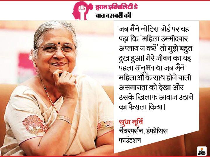 Firstly, seeing the notice board in the college, there was a feeling of female inequality, on this special day which is dedicated to women, know the thoughts of Sudha Murthy from Dainik Bhaskar   कॉलेज में नोटिस बोर्ड पर चिपके नौकरी के विज्ञापन ने जिंदगी को यू-टर्न दे दिया, महिलाओं के हक में टाटा के मुखिया तक जा पहुंचीं