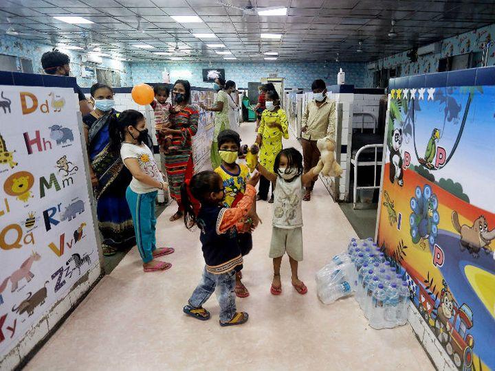 दिल्ली के लोकनायक जयप्रकाश नारायण हॉस्पिटल में पहला चाइल्ड फ्रेंडली कोविड वार्ड बनाया गया। - Dainik Bhaskar