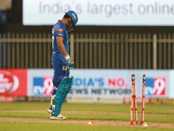 दिल्ली कैपिटल्स के खिलाड़ी ऋषभपंत ने राजस्थान रॉयल्स के खिलाफ मैच में 5 रन पर रन आउट हाे गए थे। - Dainik Bhaskar