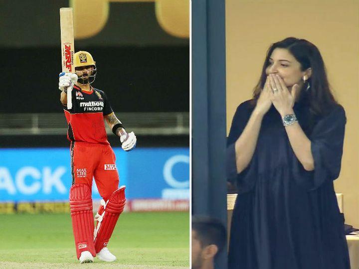 रॉयल चैलेंजर्स बेंगलुरु के कप्तान विराट कोहली ने आईपीएल में 38वीं फिफ्टी लगाई। मैच में अनुष्का  उनको चीयर करती दिखीं। - Dainik Bhaskar