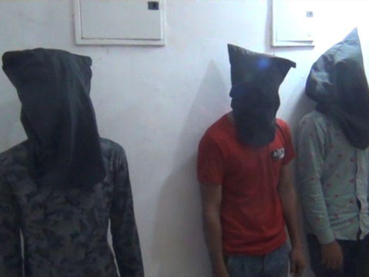 पुलिस हिरासत में आरोपी आलम, अली और सतला। - Dainik Bhaskar