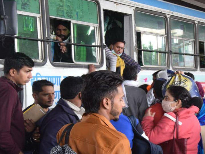 भाई दूज के अवसर पर पानीपत बस स्टैंड पर लगी यात्रियों की भीड़। फोटो : नवीन मिश्रा - Dainik Bhaskar