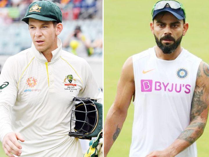 विराट कोहली की कप्तानी में टीम इंडिया ने 2018-19 में टिम पेन (बाएं) ऑस्ट्रेलिया को टेस्ट सीरीज में 2-1 से हराया था। - फाइल फोटो - Dainik Bhaskar