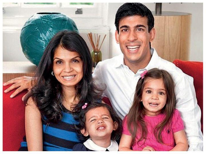 ब्रिटेन के वित्तमंत्री ऋषि सुनक पत्नी अक्षता और बच्चों के साथ। (फाइल) - Dainik Bhaskar