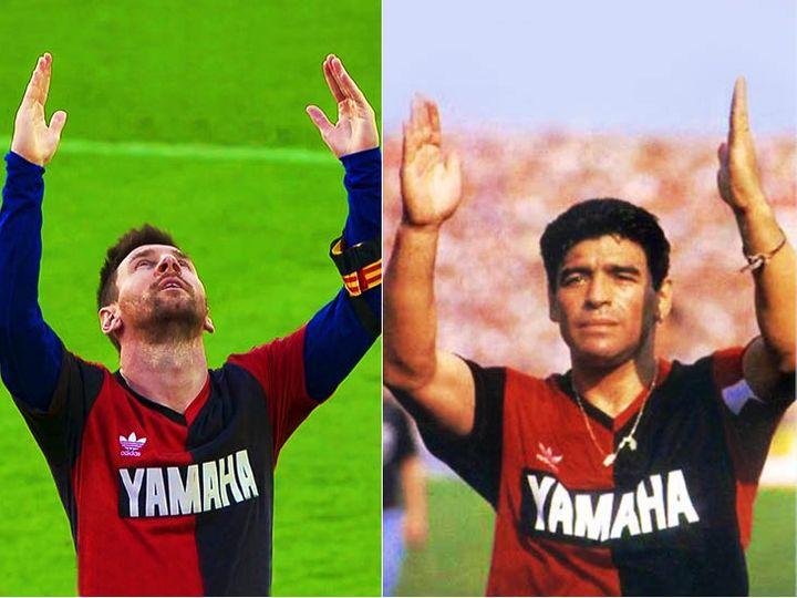 लियोनल मेसी ने डिएगो मैराडोना की नेवेल्स ओल्ड ब्वॉयज टीम की लाल और काली जर्सी पहनी थी। - Dainik Bhaskar