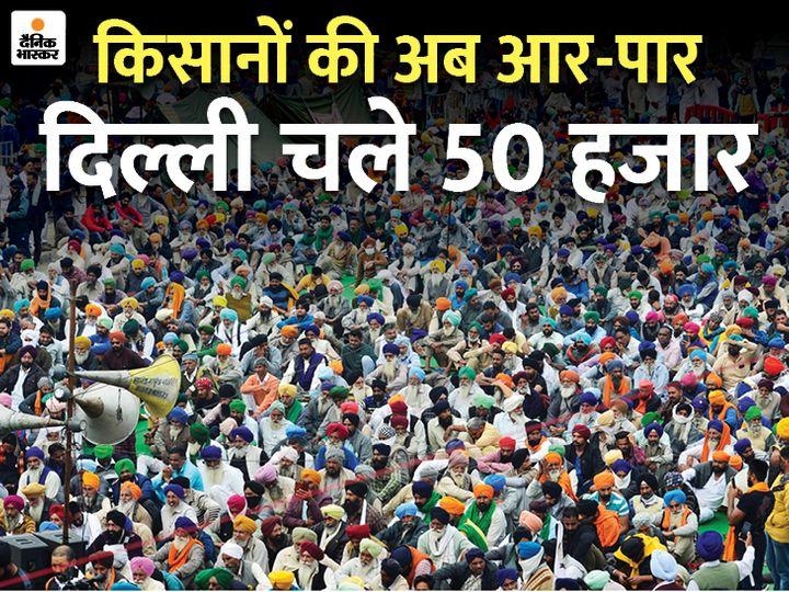 फोटो सिंघु बॉर्डर की है, जहां हजारों किसान जमा हैं। कल यानी 12 दिसंबर को भारत में हाईवे जाम करने का ऐलान किया गया है। इस बीच, अमृतसर से 50 हजार किसान दिल्ली के लिए रवाना हो गए हैं। - Dainik Bhaskar