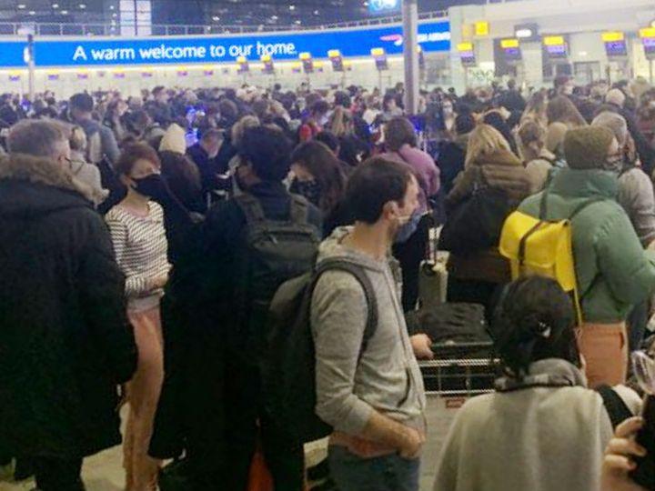 Crowd at Ireland at Heathrow Airport;  13 European countries banned UK flights Funny Jokes