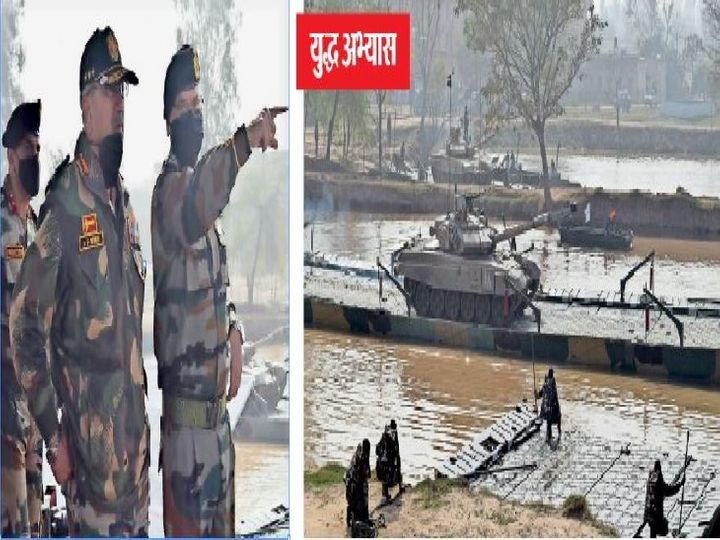 युद्ध अभ्यास का निरीक्षण करते वेस्टर्न कमांड व खड्ग कोर के जीओसी व सेना द्वारा कृत्रिम झील में बनाया गया पुल, जहां से टैंकाें काे निकाला गया। - Dainik Bhaskar
