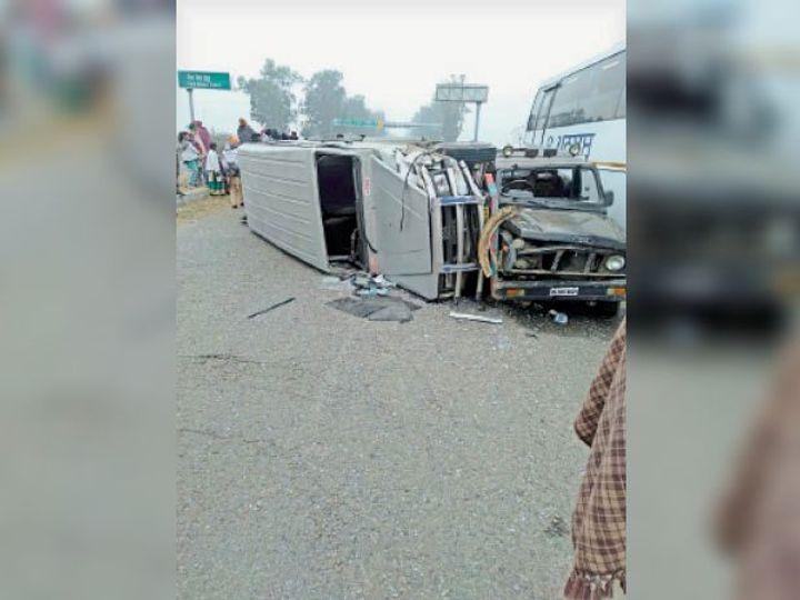 तलवंडी भाई चौक पर हुए हादसे में क्षतिग्रस्त वाहन।                                                 -भास्कर - Dainik Bhaskar