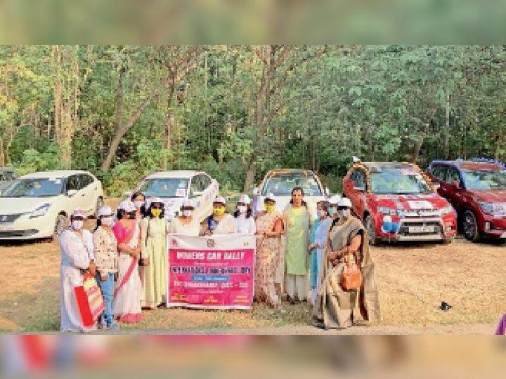 कार रैली में शामिल इनरव्हील क्लब की सदस्य। - Dainik Bhaskar