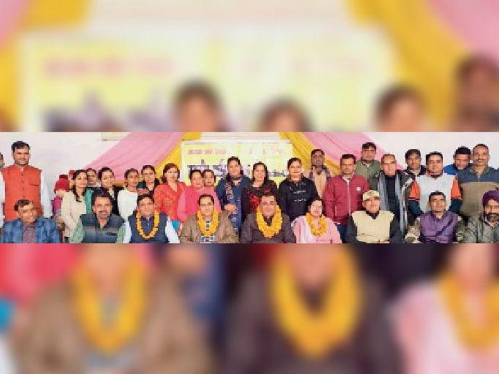 अम्बाला सिटी | विश्वकर्मा मंदिर धर्मशाला में मौजूद राजकीय प्राथमिक शिक्षक संघ की जिला कार्यकारिणी। - Dainik Bhaskar