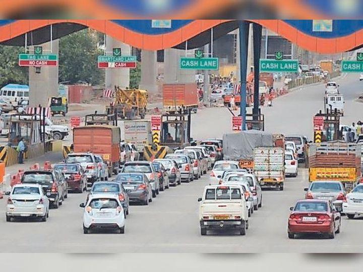 दिल्ली-आगरा नेशनल हाइवे पर बना बदरपुर टोल प्लाजा। - Dainik Bhaskar