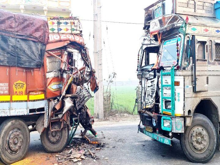 हादसे में दोनों ट्रक पूरी तरह क्षतिग्रस्त हो गए। - Dainik Bhaskar