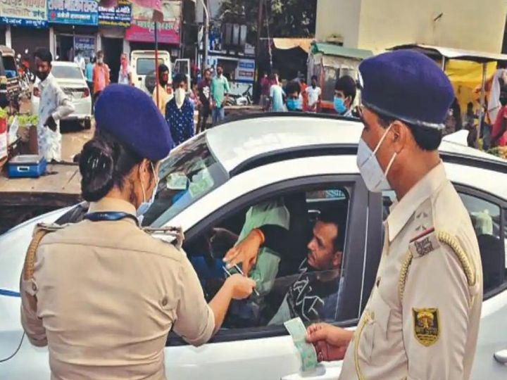 पटना में मास्क चेकिंग अभियान। - Dainik Bhaskar