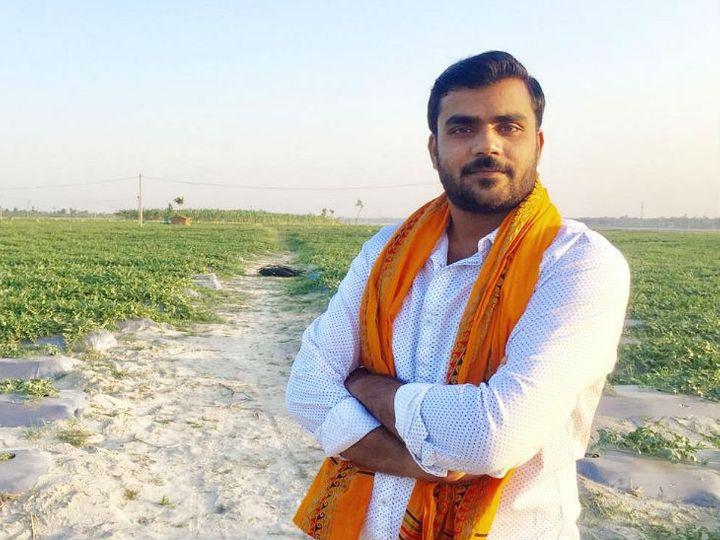 बिहार के हाजीपुर के रहने वाले रोहित सिंह तरबूज, केला और सब्जियों की नई तकनीक से खेती करते हैं। - Dainik Bhaskar