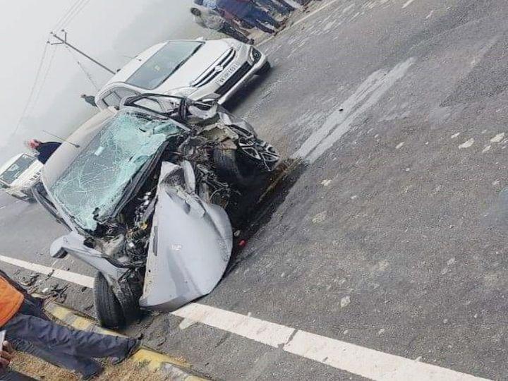 सड़क हादसे में क्षतिग्रस्त फारबिसगंज DSP की कार। - Dainik Bhaskar