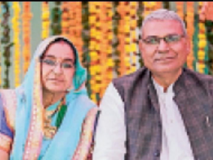 गजराज सिंह व पत्नी प्रथमा। - Dainik Bhaskar