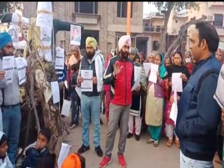 खुड़डा अली शेर में किसान आंदोलन के सपोर्ट में किया गया प्रदर्शन। - Dainik Bhaskar
